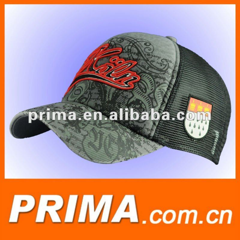 mesh trucker cap hat with flock logo and 3D embroidery logo