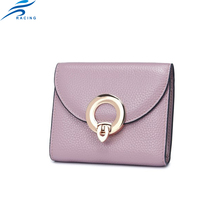 mini size colors bright wallet with metal decoration