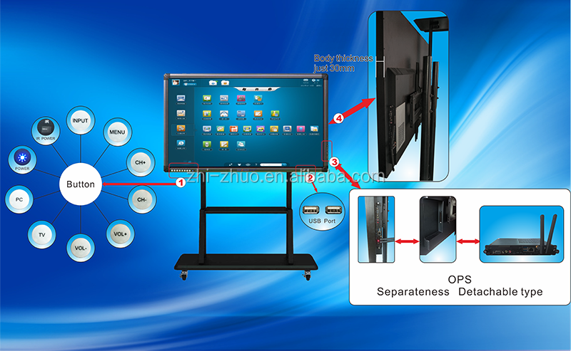 65 inch educational CE Rohs CCC touch all in one pc tv