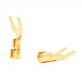 Audio Grade pieces Gold Plated Y Spade Speaker Plugs Audio Soldering Fork Connector Adapter