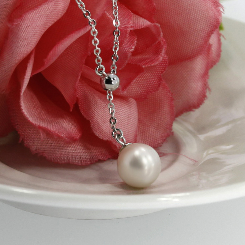 Fashion necklace freshwater Pearl jewelry 925 sterling silver long chain necklace pendant