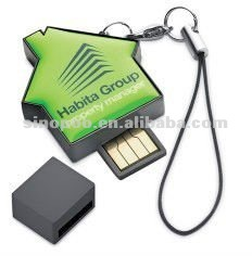Plastic house usb flash disk, with epoxy dome logo design