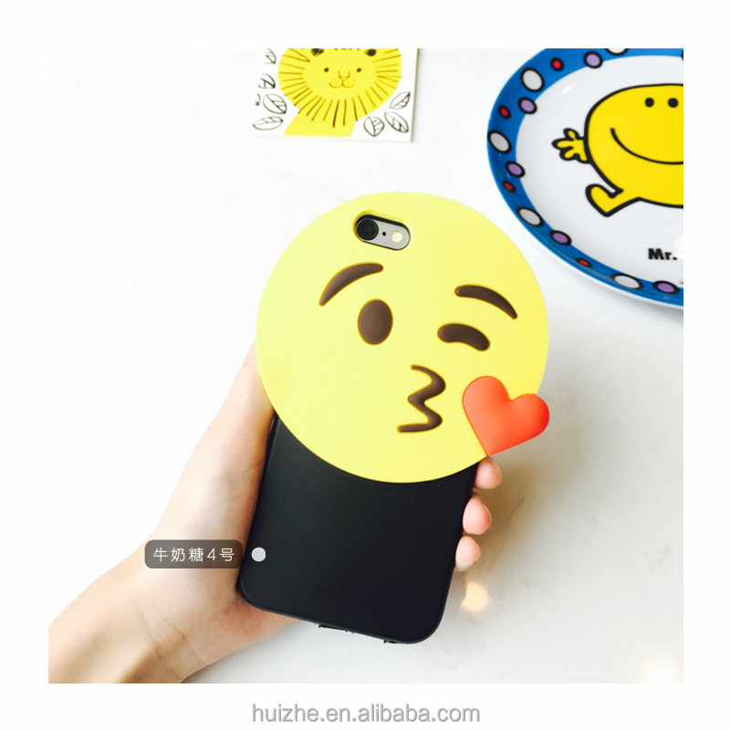 Hot selling cute emoji transparent soft tpu printing mobile cell emoji phone cover case for iphone 6