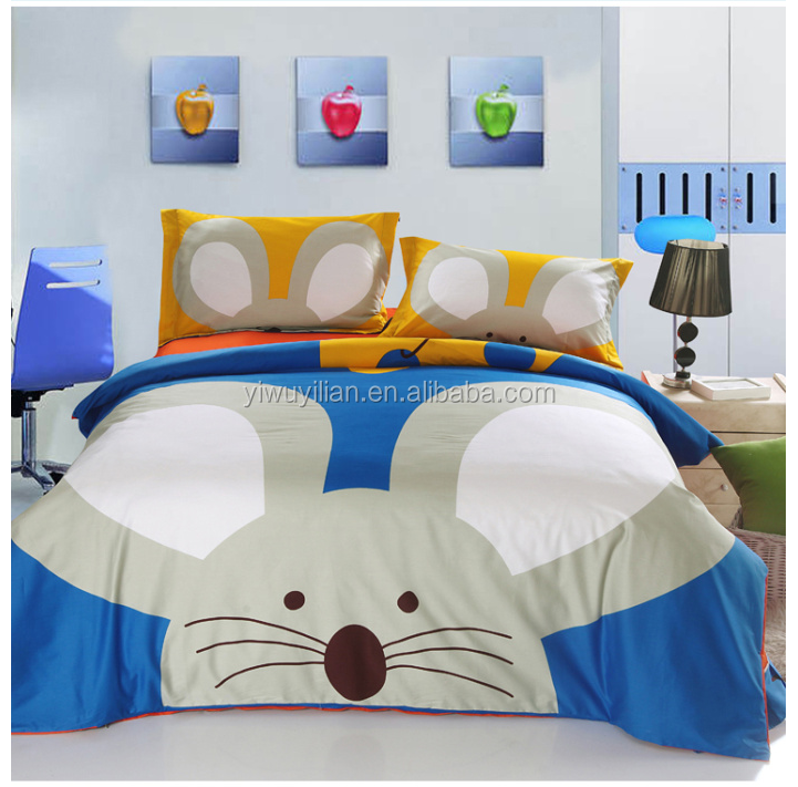 100% polyester cute cartoon 3D bed sheet for children