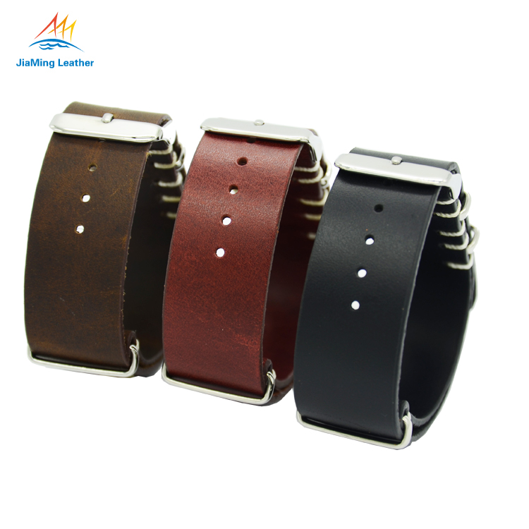 Genuine Leather Nato Strap Big Leather Zulu Strap For Watch
