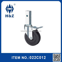 Rubber caster wheel of medium duty with brake