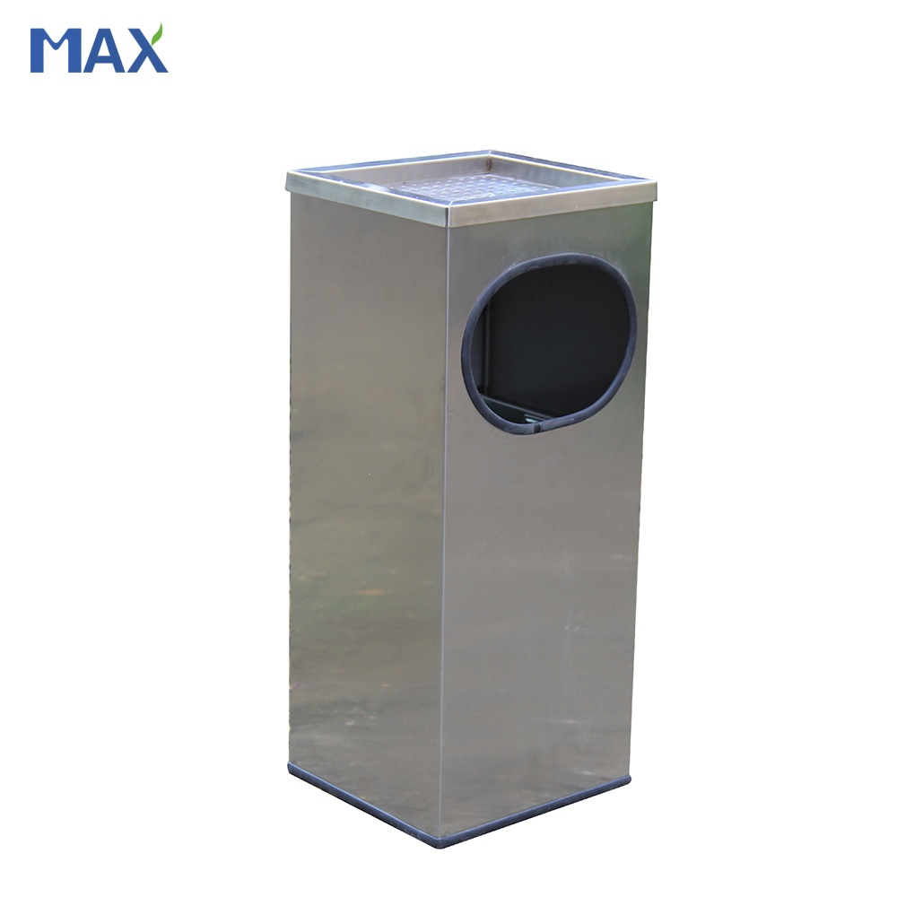 satin stainless steel ashtray stand trash bin
