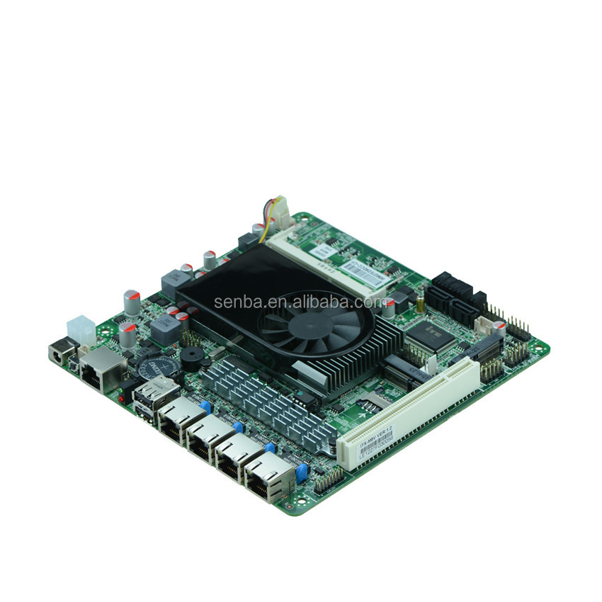 cheapest dc 12v mini itx atom d525 router motherboard for 4 lan pci slot