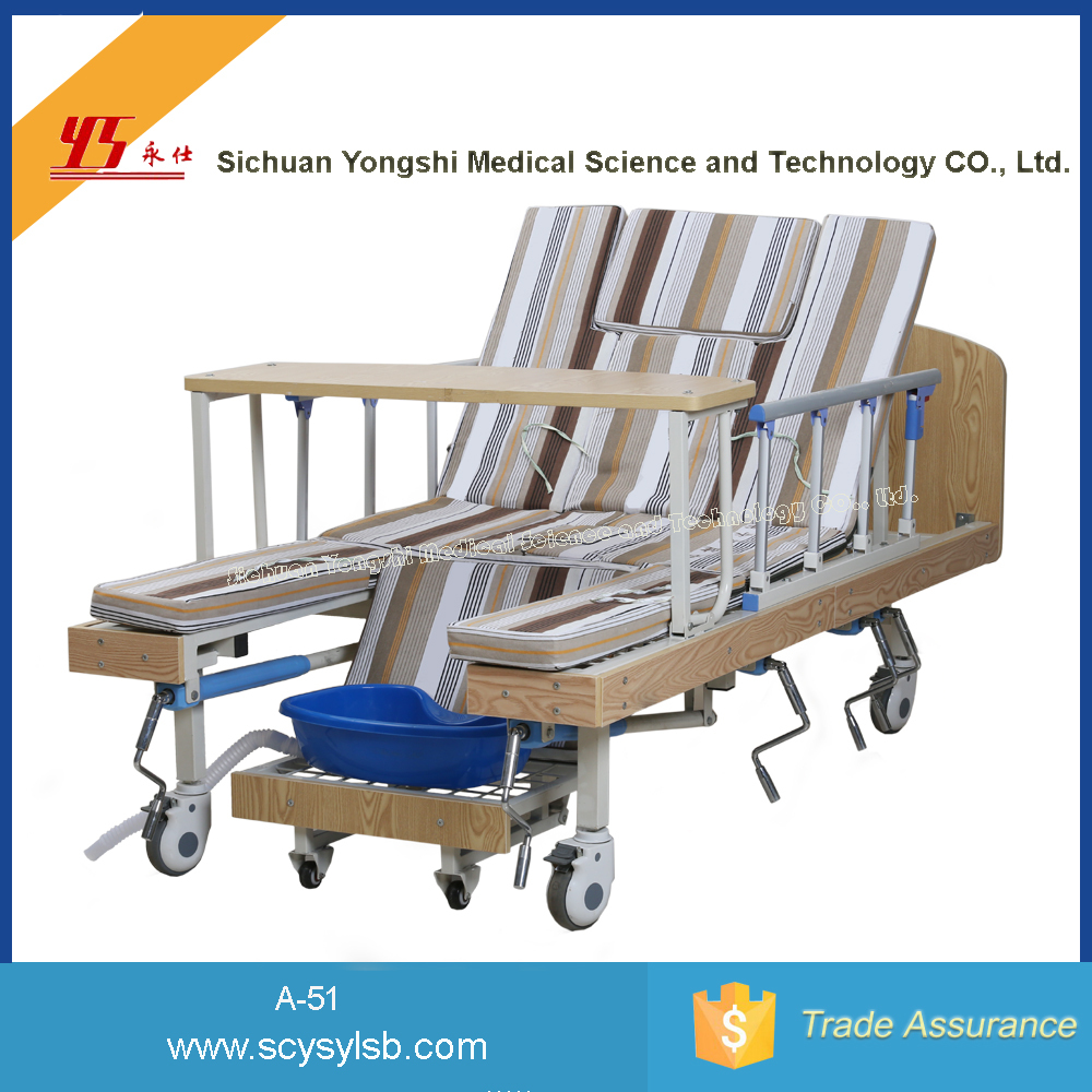 Cheap Wooden Manual Medical Hospital Bed with Leg lift for Sale