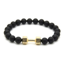 Wholesale New Fashion High Quality 8mm Matte Glass Beads with Real Gold and Silver Plated Dumbbell Fitness Barbell Bracelets