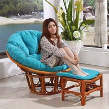 Round Large Adult Natural Rattan Wicker Cane Wood Plush Sleeping Relax Lounge Bowl Saucer Chair with stool