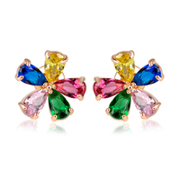 Factory supply 18k GOLD FINISH FANCY CLUSTER STUD EARRINGS with Colorful AAA zircon earring new arrivals 2016