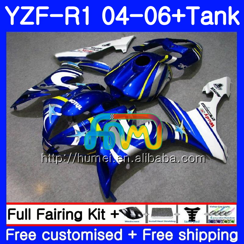 Body kit For YAMAHA YZF 1000 R 1 blue white YZF <strong>R1</strong> <strong>04</strong> 05 06 95HM34 YZF-1000 YZF-<strong>R1</strong> 2004 2005 2006 YZF1000 YZFR1 <strong>04</strong> 06 <strong>Fairing</strong>