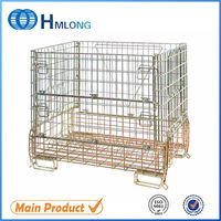 Welded foldable stacking steel metal cages with wheels