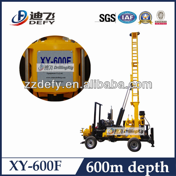 DEFY BRAND 600m depth XY-600F hydraulic wheel trailer mounted machines for water well drilling