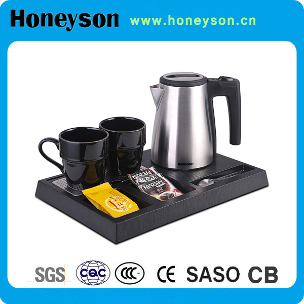 5 star hotel kitchen equipment luxury electric kettle with tray