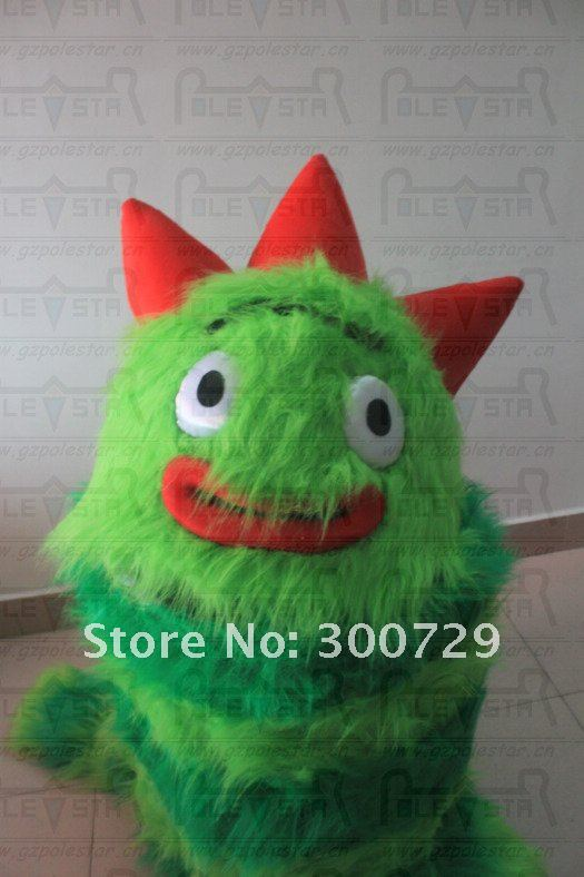 new yo gabba gabba brobee costume long green fur real pictures NO.2424