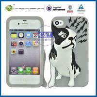 C&T Gray stereo dog shape soft sublimation silicon cover for iphone4 4s