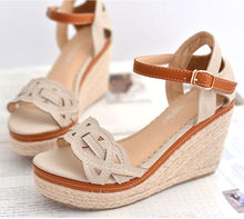 Hot sales 2014 summer wedge heel sandal women platforms sandal young girls wedges sandal