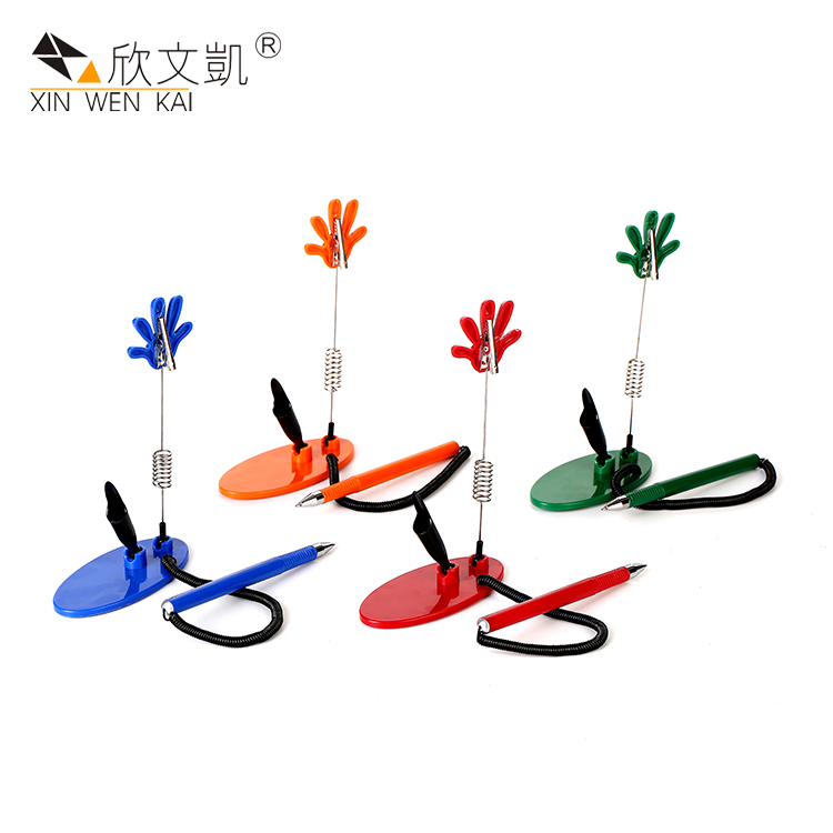 New Promotional Products Palm Alligator Clip Plastic Cheap Reception Desk Standing Counter Pen