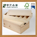 FSC certificated unfinished natural color wooden gift box