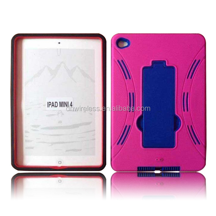 hard protector pc silicone hybrid protector case for apple ipad mini 4 with kickstand