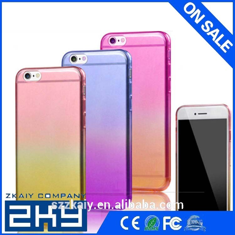 Rainbow color ultra Thin mobile phone cases colorful TPU Case for iPhone 6 6S cover cases