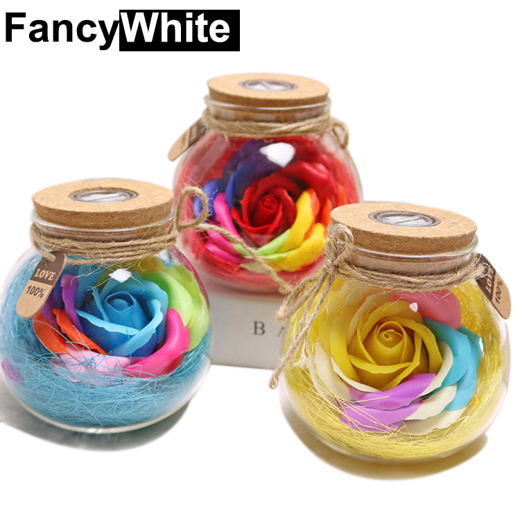 2017 hot selling Factory direct Festival Christmas Lights colorful Wish bottle soap roses creative soap flower festival gifts