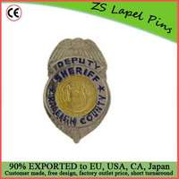 Custom quality award gift safety pin back California County Sheriff Badge