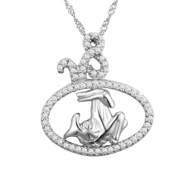 Solid silver zodiac signs jewelry, Capricorn pendant wholesale
