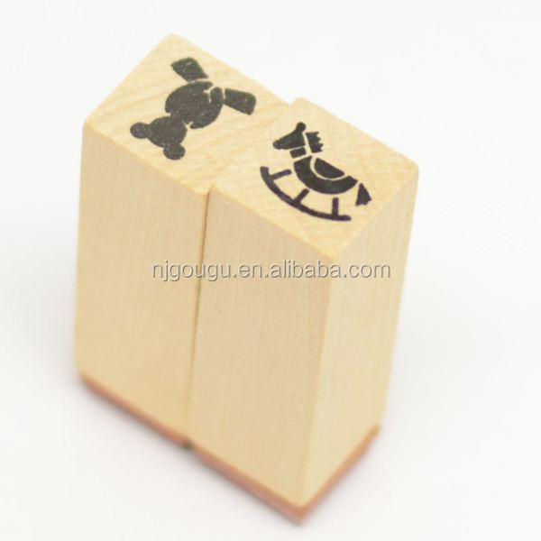 cartoon rubber stamp wooden handle