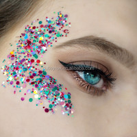Body Glitter With Beauty of human Art Make Up Different Color Shining Glitters