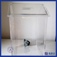 House shaped plexiglass acrylic donation box with lock wholesale