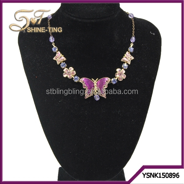 Butterfly Epoxy Necklace Real Gold Plating Purple Crystals For Party Jewelry Women