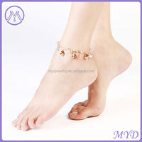 Fashion Jewelry Gold Plated High Quality Stylish Teardrop Girls Charm Anklet
