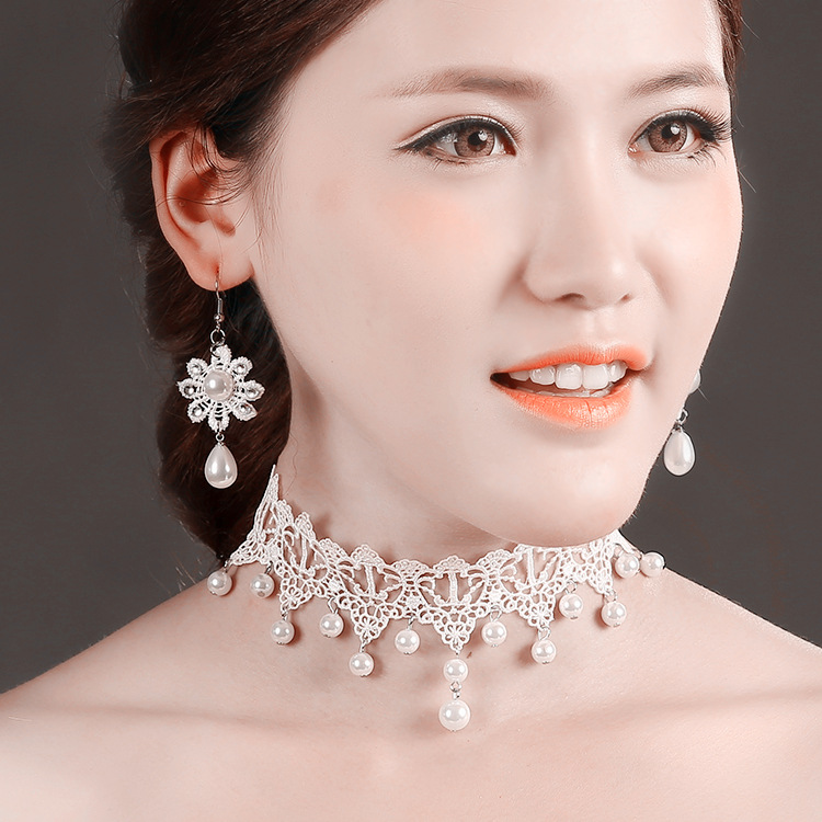 Fashion white flower choker with hanging fish hook jewelry set, lady's pearl jewelry set