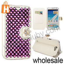 Silk Texture Bling Diamond Rhinestone Magnetic Stand Flip Leather Case For Samsung Galaxy Note 2 N7100