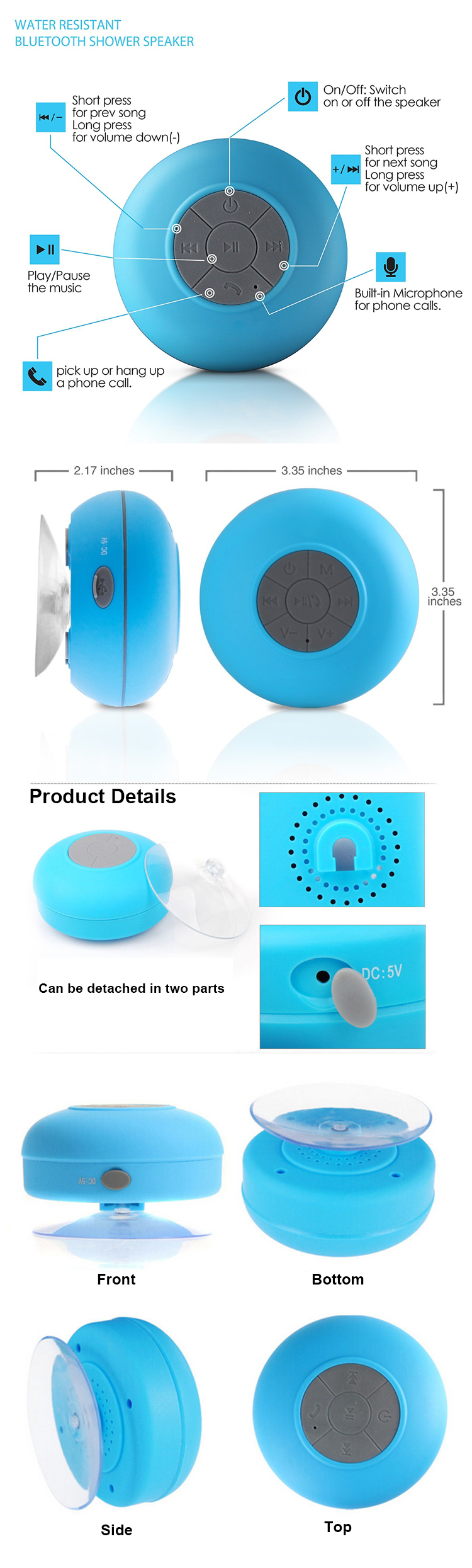 Hot sell usb shower speakers wireless waterproof headphones portable mini speaker