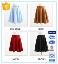 Latest High Waist A Line Flare Fashion Ladies Mini Skirt With Belt