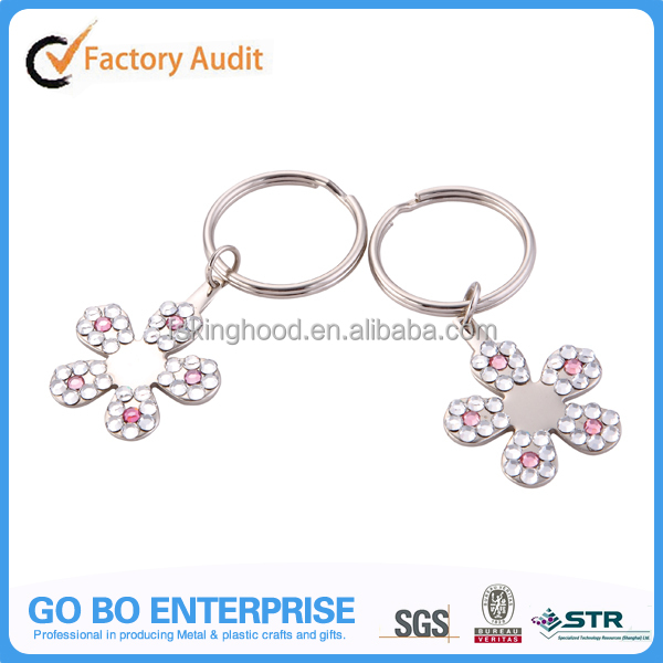 Zinc alloy flower metal shaped acrylic keyrings