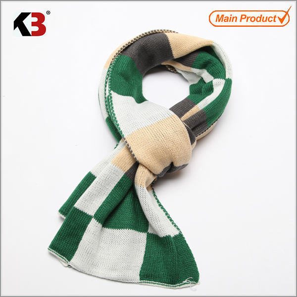 wholesale custom acrylic embroider stripe chunky Knitted scarf