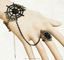 Wholesale Vintage gothic araneose lace bracelet and ring halloween props jewelry sets