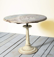 Round Top White Color One Leg Table