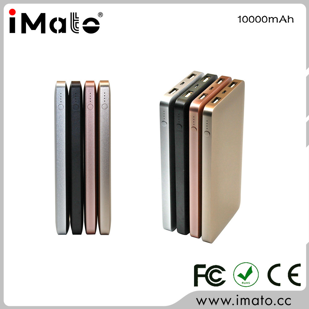 Promotional gift metal slim power bank 10000mah, supermarket sale s promotion high quality metal power