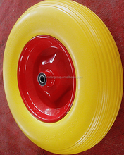 pu polyurethane foam tire 4.00-8 solid rubber spoke wheels