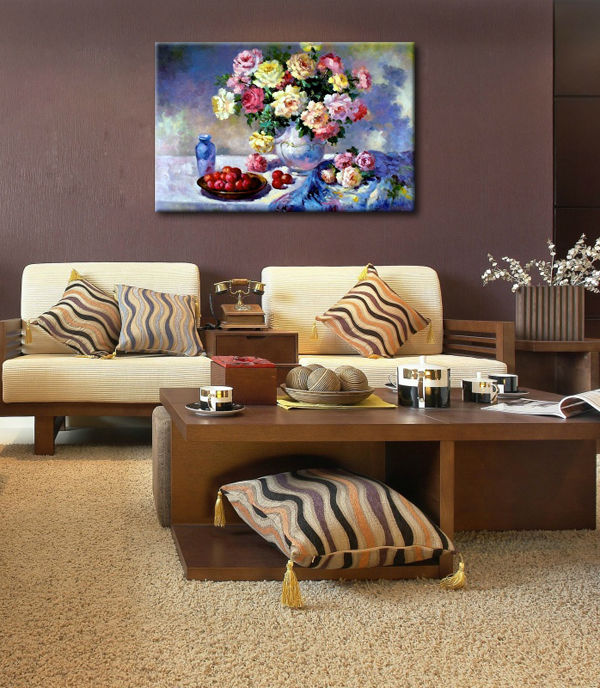 Garden painting,flower paintings,Knife painted