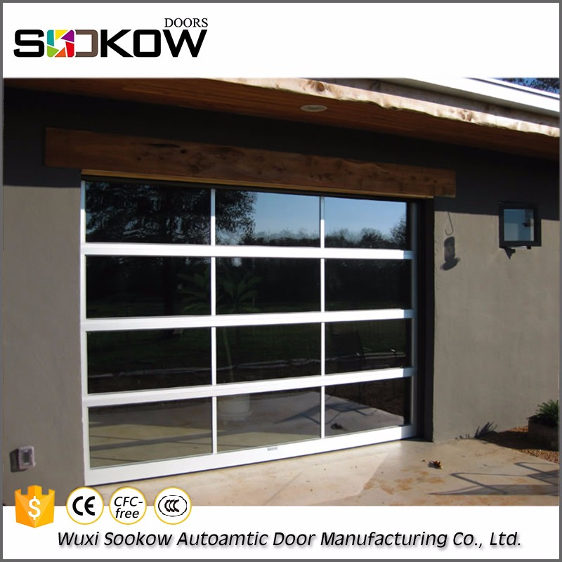 Decorative commerical frosted graceful wrought 16*9 frosted aluminum and glass garage door
