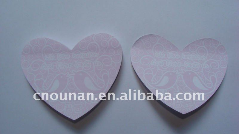 heart shaped sticky memo pad die cut notepad customized shape sticky notes