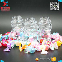 30ml bear shape glass candy jar with metal lid