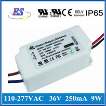 ES 9W 36V 250mA constant current led driver power supply with ELV Dimming ,Trailing edge dimmable,UL CUL IP65